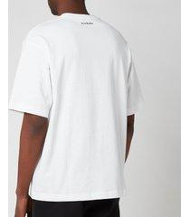 acne studios men's printed t-shirt - optic white - xl