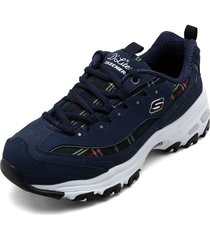 tenis lifestyle azul-multicolor skechers d'lites mountain alps