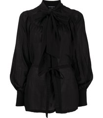 ann demeulemeester pussy-bow belted blouse - black
