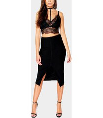 black lace crop top & slit skirt two piece outfits