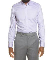 men's ted baker london trim fit herringbone dress shirt, size 15.5 - purple