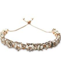 inc gold-tone crystal baguette bar slider bracelet, created for macy's