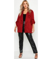 plus waterfall ruched utility jacket, rust
