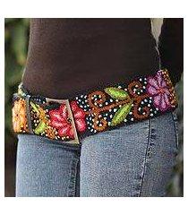 wool belt, 'black night bouquet' (peru)