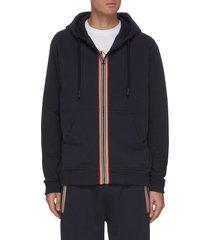 'lexington' icon stripe zip up cotton hoodie