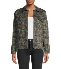 nicole miller women's oversized camo-print denim jacket - camo green - size s