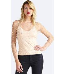 tiulowa bluzka z perłowymi aplikacjami