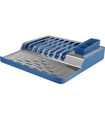 escorredor de pratos minimal 37x36x10 cm brinox azul