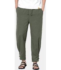 pantaloni sottili casuali con coulisse in vita elasticizzata in cotone elasticizzato traspirante da uomo
