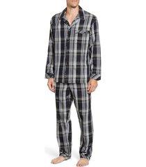 men's majestic international baxter plaid cotton pajamas, size x-large - black