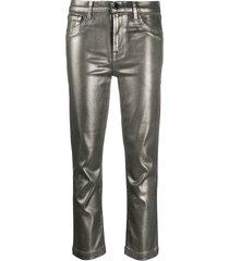 j brand ruby cropped metallic jeans - silver