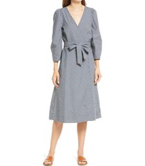 madewell textured dot midi wrap dress, size small in deep navy at nordstrom