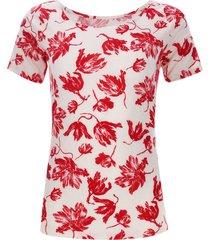 camiseta escote bandeja hojas color rojo, talla 14