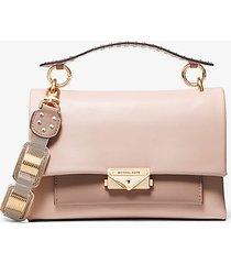 mk borsa a spalla cece media in pelle con dettaglio catena - rosa tenue/marrone chiaro (rosa) - michael kors