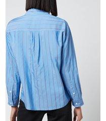 a.p.c. women's boyfriend stripe shirt - blue - fr 40/uk 12