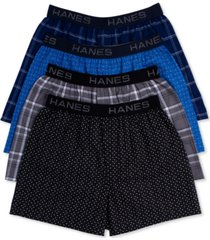 hanes men's platinum underwear, elastic waistband plaid woven boxer 4 pack