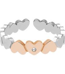 anello regolabile in acciaio bicolore cuori e strass per donna