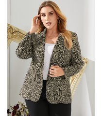yoins plus talla cuello de solapa botón de leopardo diseño abrigo de manga larga