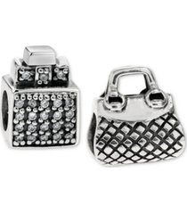 rhona sutton 2-pc. set perfume bottle & purse bead charms in sterling silver