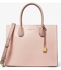 mk borsa tote mercer grande in pelle saffiano color block - rosa tenue/crema chiaro/marrone chiaro (rosa) - michael kors