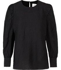 crepe blouse met pofmouwen jasmin  zwart