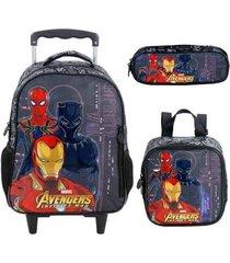 kit mochila com rodinhas avengers first strike com lancheira e estojo masculino