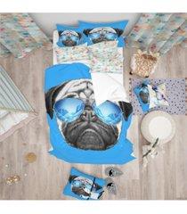 designart 'pug dog with mirror sunglasses' modern and contemporary duvet cover set - queen bedding