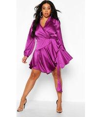 plus satin ruffle wrap dress, purple