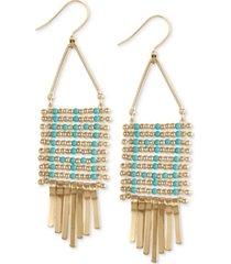lucky brand gold-tone beaded mesh fringe statement earrings