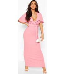 bardot belted maxi dress, coral