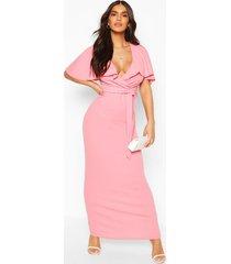 maxi-jurk met riem en boothals, koraal
