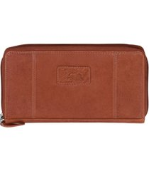 mancini casablanca collection rfid secure zippered clutch wallet