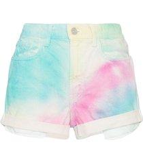 jordache high-rise tie-dye denim shorts - multicoloured