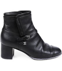 chanel black leather cap toe buckled cc ankle boots black sz: 6.5