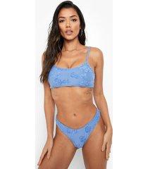 badstoffen bikini top met reliëf en bandjes, blue