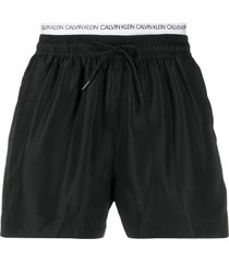 calvin klein logo waist swim shorts - black