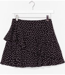 womens polka dot ruffle mini skirt - black