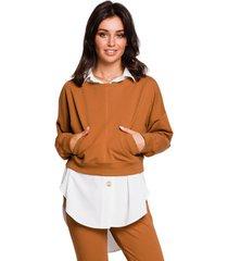 sweater style s163 mouwloze jumpsuit - beige