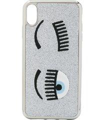 chiara ferragni flirting embroidered iphone xs case - silver