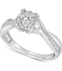 diamond cluster promise ring (1/4 ct. t.w.) in sterling silver