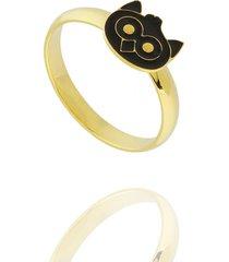 anel dona diva semi joias corujinha dourado - kanui