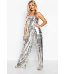 plus sequin strappy wide leg jumpsuit, silver