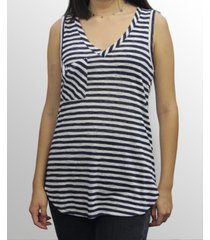 coin 1804 womens stripe v-neck pocket tank