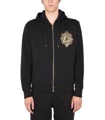 versace jeans couture v emblem leaf logo hooded sweatshirt