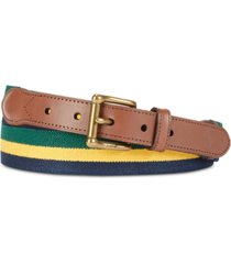 polo ralph lauren men's leather-trim stretch belt
