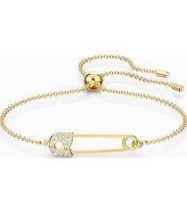 braccialetto so cool pin, bianco, placcato color oro