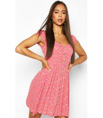 ditsy floral print cheesecloth button skater dress, coral