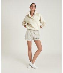 reiss farley - shawl collar loungewear sweatshirt in neutral, womens, size l
