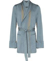 ann demeulemeester tie-waist wrap blazer - blue