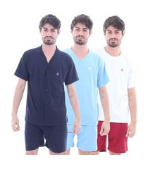 kit 3 pijamas algodão mechler curto multicolorido
